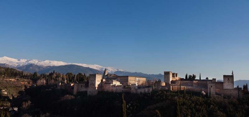A view of the Alhambra from an opposite hill.