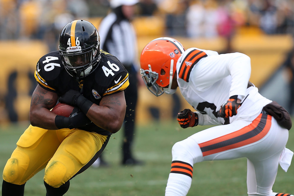 . Will Johnson #46 of the Pittsburgh Steelers runs the ball during the game against the Cleveland Browns at Heinz Field on December 30, 2012 in Pittsburgh, Pennsylvania.  (Photo by Karl Walter/Getty Images)