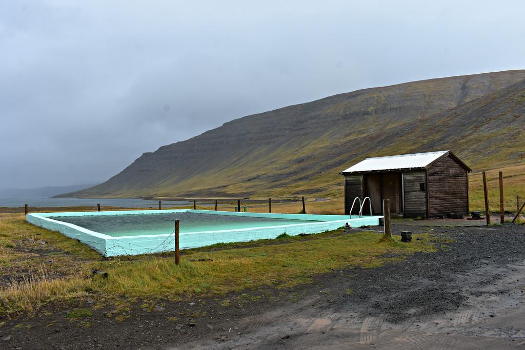 Reykjafjarðarlaug swimming pool in West Fjords Iceland