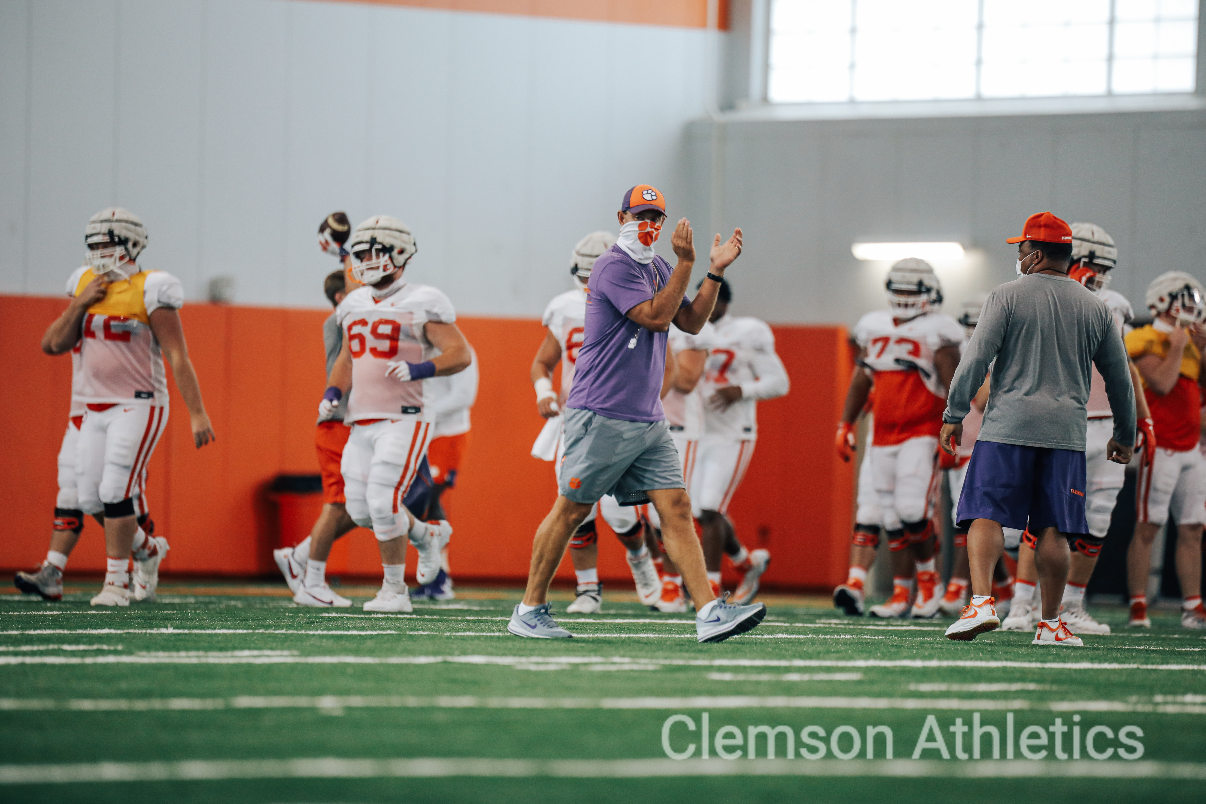 Clemson players take part in fall practice Friday, August 14, 2020. Photo courtesy Clemson Athletics