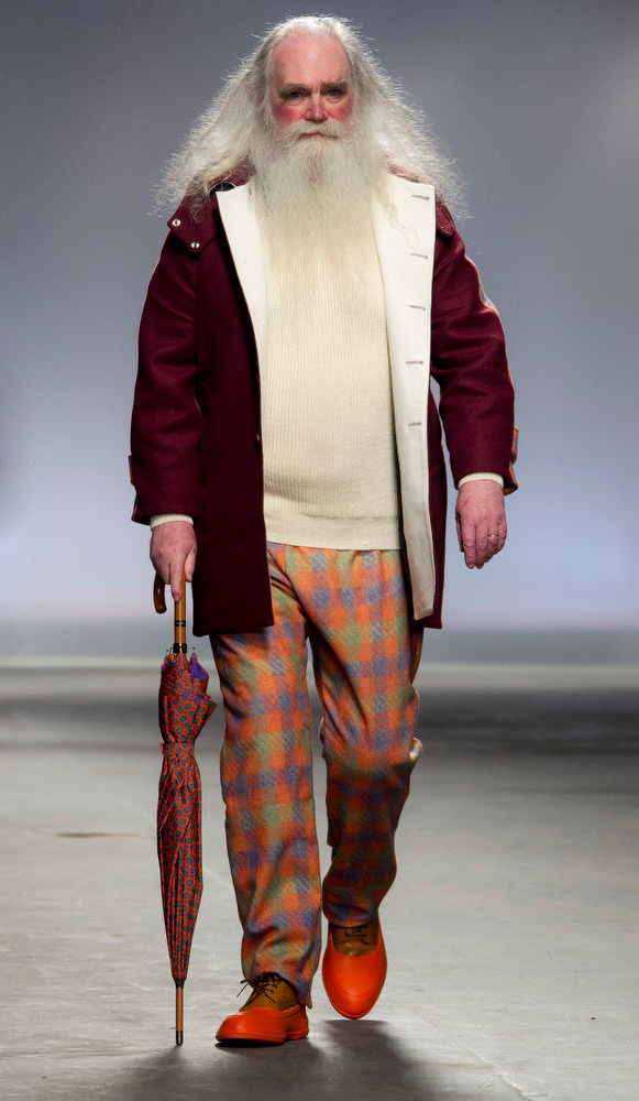 . A model wears an outfit by designer Hentsch Man for their Autumn/Winter show during Men\'s London Collections in central London, Monday, Jan. 7, 2013. (Photo by Joel Ryan/Invision/AP)