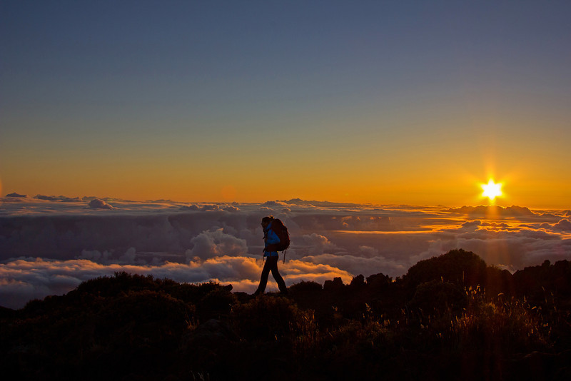 Backpacking at sunset on Haleakala, Maui Hawai