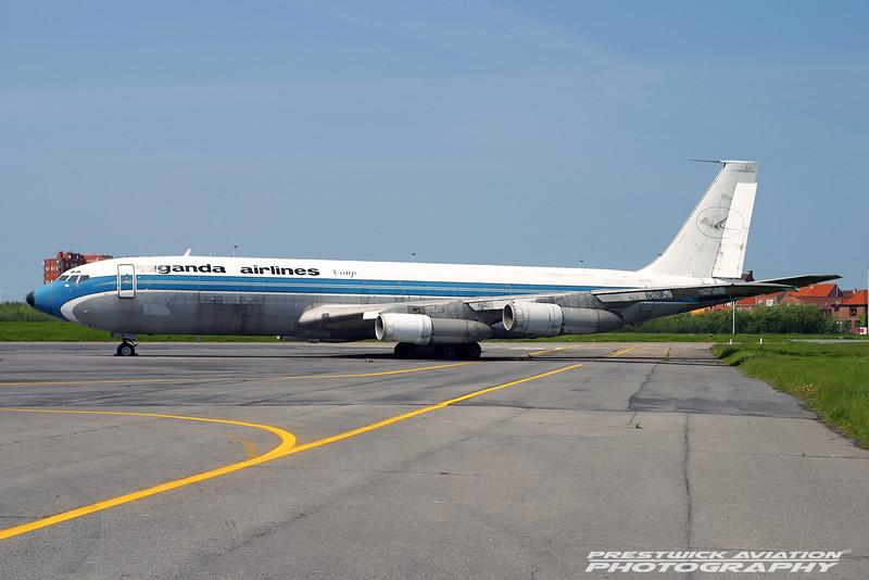 YA-GAF. Boeing 707-324C. Uganda Airlines Cargo. Ostend. 140504.