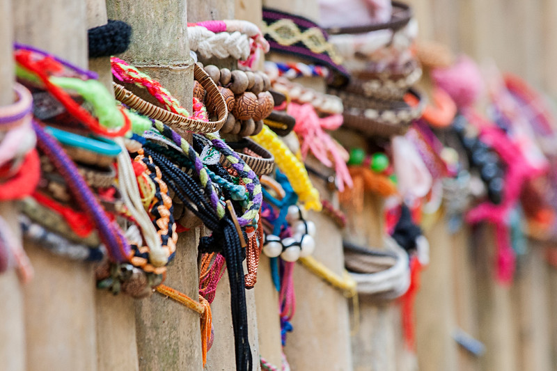 Memorial bracelets at the Killing Fields, Cambodia