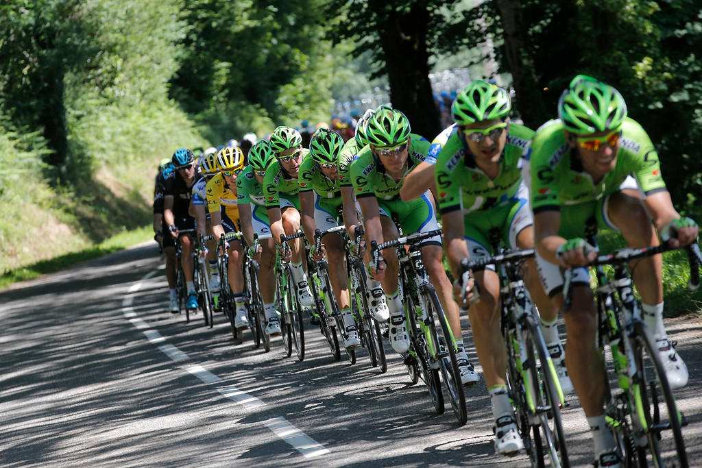 . Team Cannondale leads the chase of the first pack for their sprinter Peter Sagan of Slovakia, last in line in the best sprinter\'s green jersey, during the seventh stage of the Tour de France cycling race over 205.5 kilometers (128.5 miles) with start in Montpellier and finish in Albi, southern France, Friday July 5, 2013. Center is Daryl Impey of South Africa, wearing the overall leader\'s yellow jersey. (AP Photo/Christophe Ena)