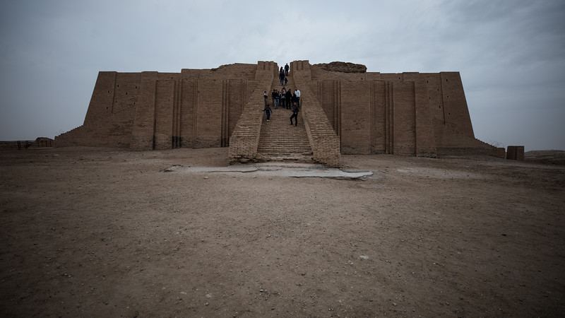 The Great Ziggurat of Ur. The Ziggurat was built originally during the early Bronze Age period (21st century BC) and then restored in 6th century BC by King Nabonidus. During the reign of Saddam Hussein the façade of the lowest level and the monumental staircase were restored and rebuilt.