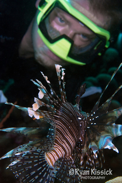My cousin Andrew admiring a lionfish