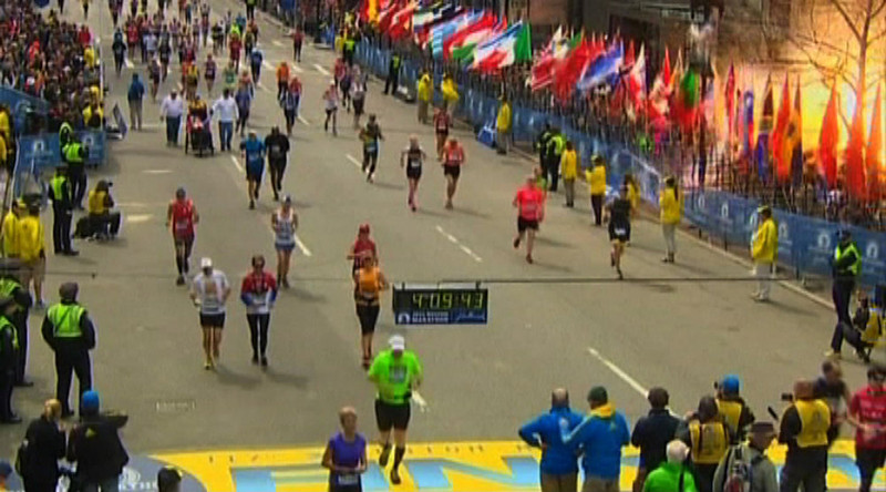 . Still image taken from video courtesy of NBC shows an explosion at the Boston Marathon, April 15, 2013. Two explosions struck the marathon as runners crossed the finish line on Monday, witnesses said, injuring an unknown number of people on what is ordinarily a festive day in the city. REUTERS/NBC/Handout