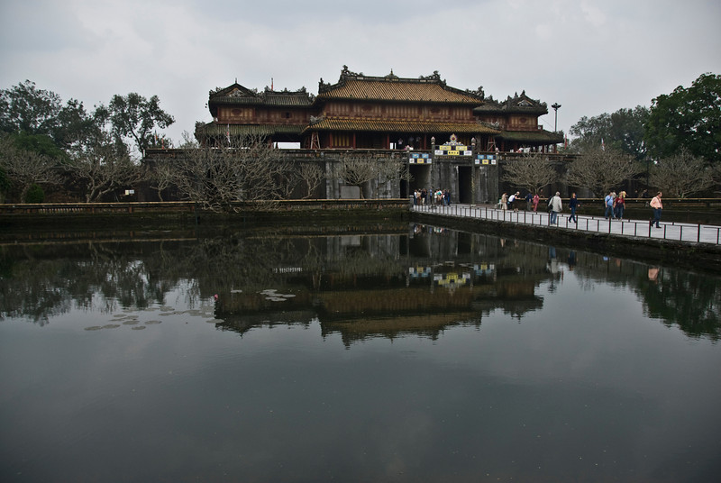 The Citadel gate reflected on pond near entrance - Hue, Vietnam