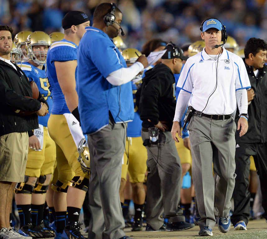 . UCLA coach Jim Mora during their game against Arizona State at the Rose Bowl Saturday November 23, 2013. Arizona State beat UCLA 38-33. (Photos by Hans Gutknecht/Los Angeles Daily News)