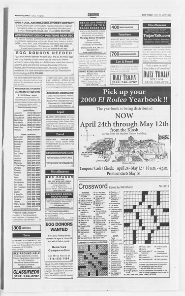 Daily Trojan, Vol. 139, No. 66, April 26, 2000