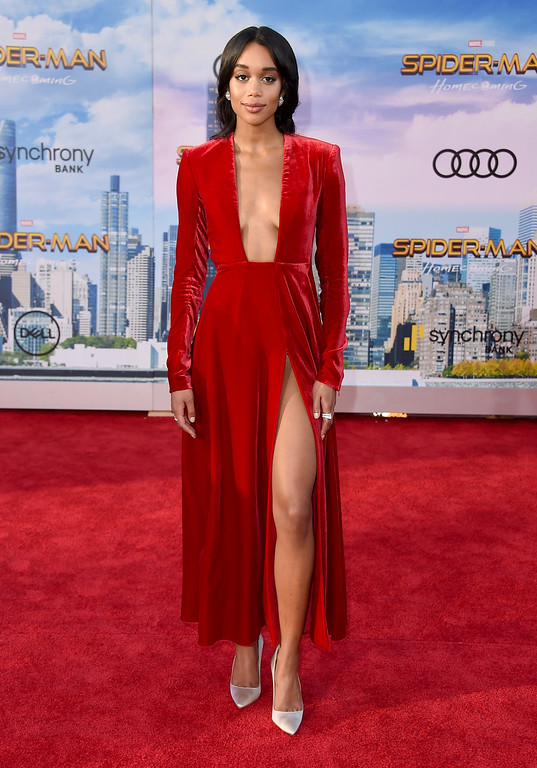 """. Laura Harrier arrives at the Los Angeles premiere of \""""Spider-Man: Homecoming\"""" at the TCL Chinese Theatre on Wednesday, June 28, 2017. (Photo by Jordan Strauss/Invision/AP)"""