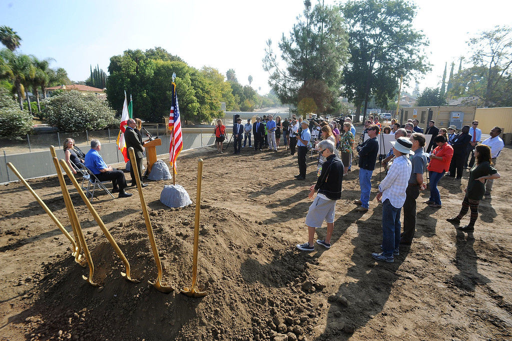 . City officials and residents gather for a groundbreaking ceremony for the LA Riverfront Park project in Sherman Oaks, CA September 18, 2013.  The park will be part of a proposed ¼ mile stretch of bike path that will run alongside the river bank on what is currently used as a maintenance access road. (Andy Holzman/Los Angeles Daily News)