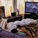 Men on sleeper, acrylic on canvas, 34 x 60 in, 2019