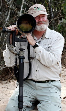 Photographing jaguars in the Pantanal, Brazil.  Haroldo capturing me in an intimate moment with my big glass. (photo by Haroldo Dahn, 8/12)