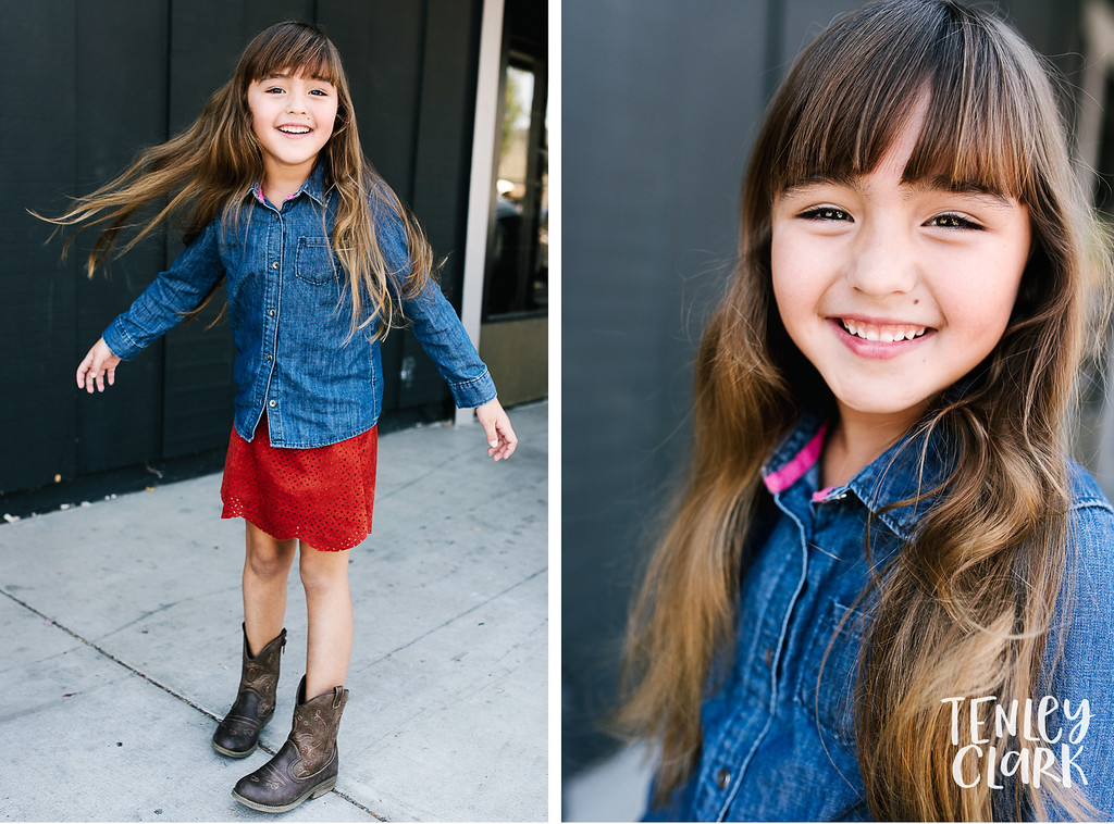 Downtown Pleasanton, CA kids model headshots for JE Model by Tenley Clark Photography. Layla gray wall hair flip