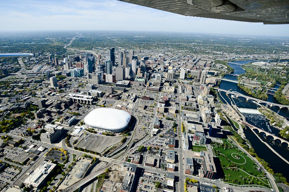 . Downtown Minneapolis with the Metrodome in the foreground. (Pioneer Press: Ben Garvin)