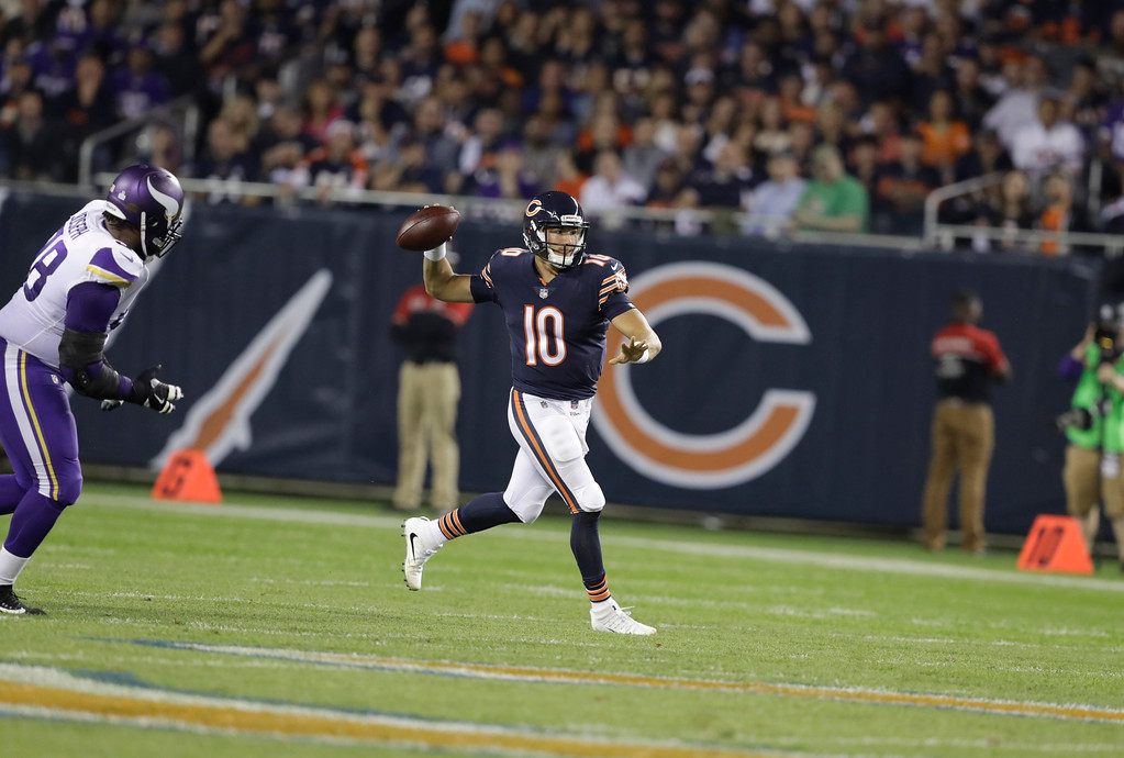 . Chicago Bears quarterback Mitchell Trubisky (10) scrambles during the first half of an NFL football game, Monday, Oct. 9, 2017, in Chicago. (AP Photo/Darron Cummings)