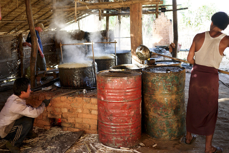 The jaggery sugar making hut near Nyaung Shwe, Inle Lake, Burma (Myanmar).