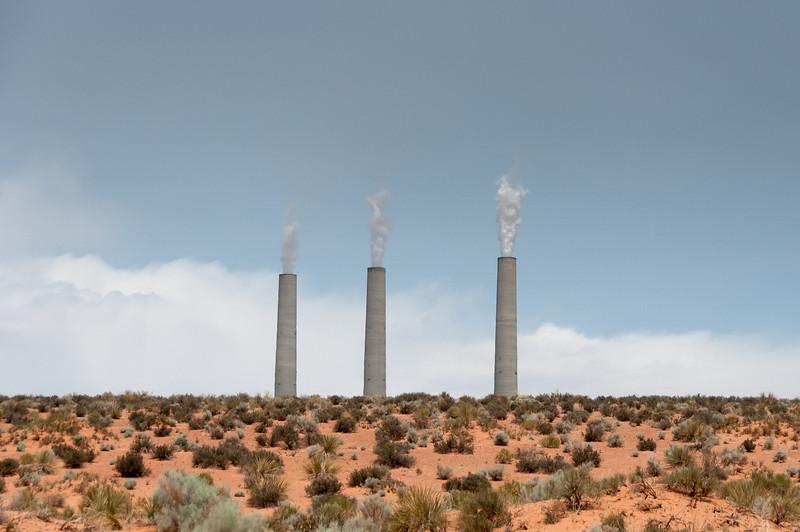 Navajo coal-burning power plant near the entrance to Antelope Canyon in Arizona