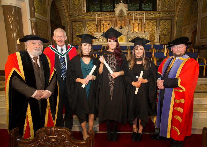 Pictured are Edel Lambert, Carlow, Kandi Comerford, Kilkenny and Marie Louise Hore, Wexford who graduated Bachelor of Arts (Hons) in Applied Social Studies. Also pictured are Jack Walsh, Deputy Chairperson Govering body,  Dr Richard Hayes, Dr. Derek O'Byrne, Registrar of Waterford Institute of Technology (WIT). Picture: Patrick Browne.