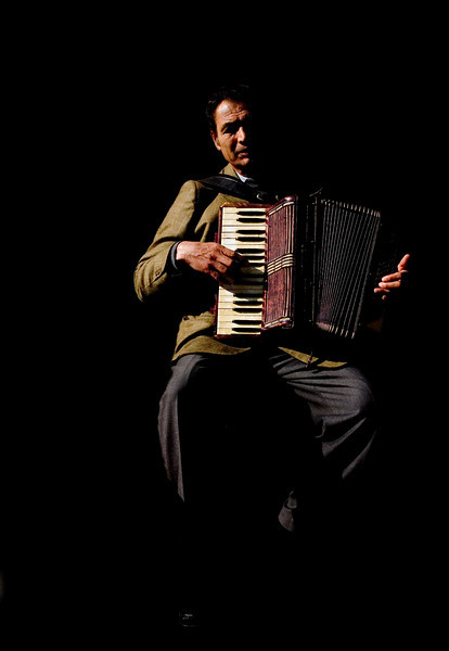 Busker playing the accordion, Seville, Spain