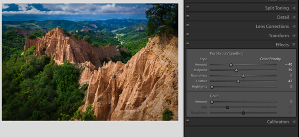 Rozhen Pyramids with a Black Vignette and Color Priority