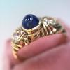 1.75ctw Cab Sapphire and Old European Cut Diamond 3-stone Ring 2