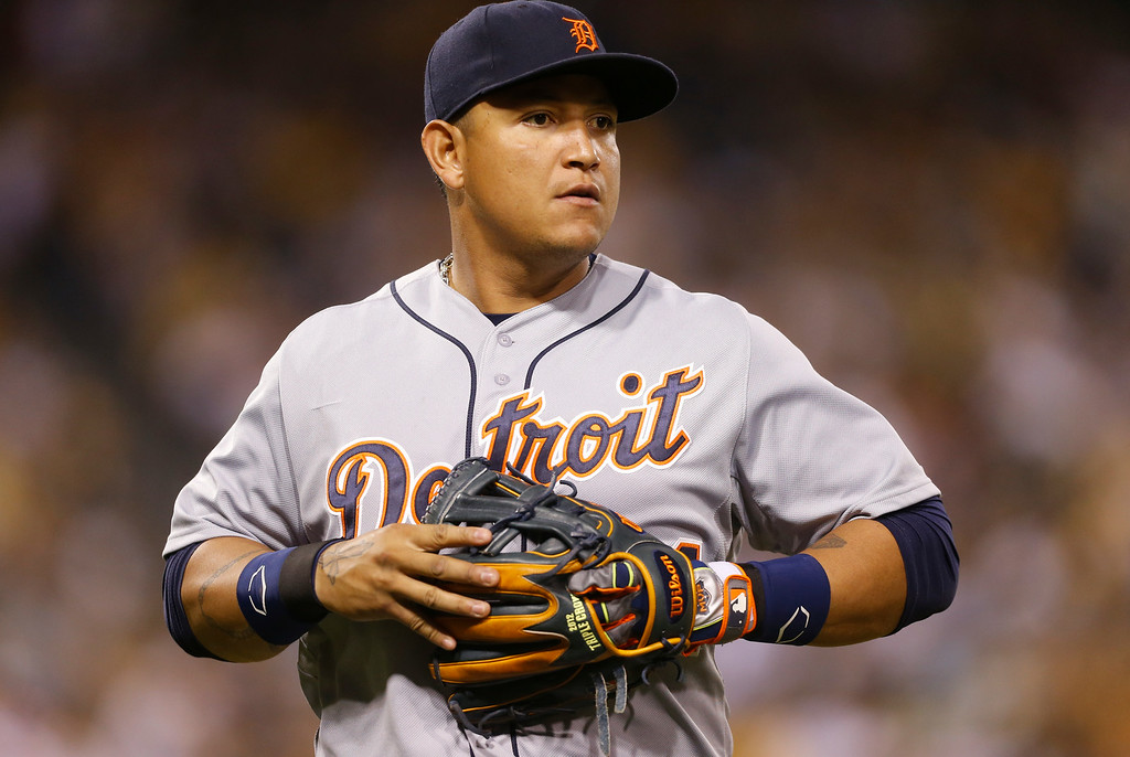 . Detroit Tigers first baseman Miguel Cabrera walks to the dugout after the seventh inning in the baseball game against the Pittsburgh Pirates on Tuesday, Aug. 12, 2014, in Pittsburgh. (AP Photo/Keith Srakocic)