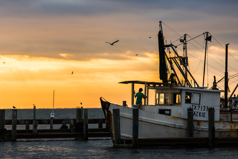 Aransas Bay Shrimper Man Sunrise