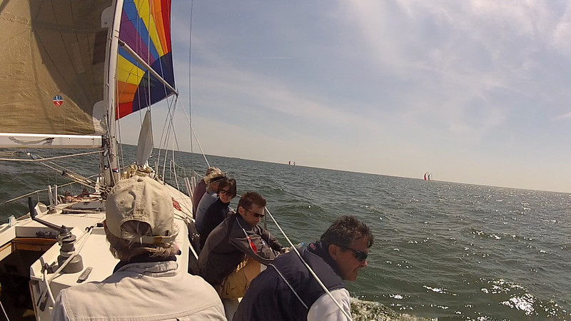 4/14 Opening Day Crew on the rail as we go downwind.