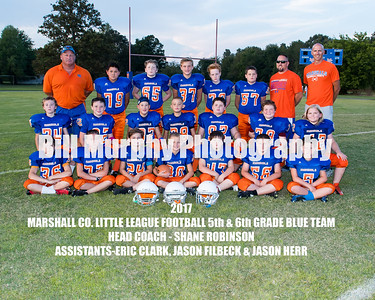 2017 5th & 6th Grade  Blue Team, Marshall Co. Little League Football