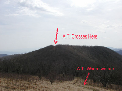 The Appalachian Trail crosses Thunderhead Mountain here.  GSMNP April 2007