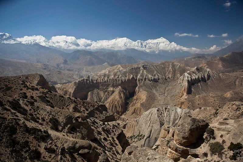 Looking South towards Tharangla and Niligiri Himal. Samar, Mustang, Nepal.