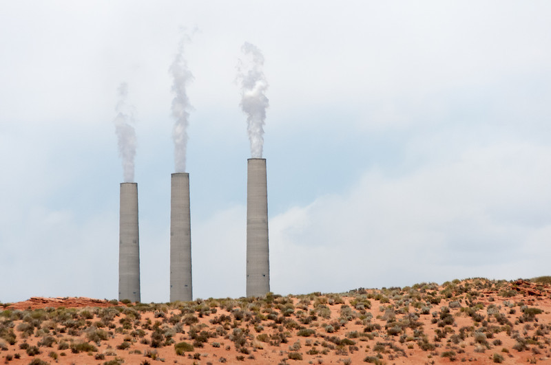 Navajo coal-burning power plant near entrance to Antelope Canyon in Arizona