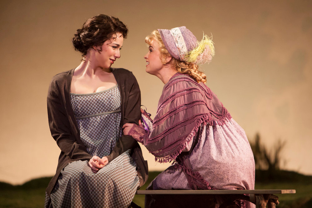 """. Stephanie Rothenberg as Miss Elinor Dashwood and Stacie Bono as Miss Lucy Steele in the Denver Center Theatre Company\'s world premiere of \""""Sense & Sensibility The Musical.\""""   Photo by Jennifer M. Koskinen"""