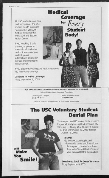 Daily Trojan, Vol. 156, No. 1, August 17, 2005