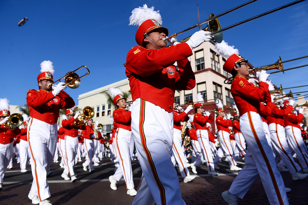 . Pasadena City College Tournament of Roses Honor Band heads down Colorado Boulevard during the 125th Rose Parade in Pasadena, CA January 1, 2014. (Photo by Sarah Reingewirtz/Pasadena Star-News)