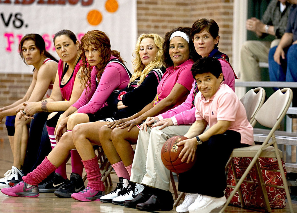 ". From left, Brooke Shields, Camryn Manheim, Daryl Hannah, Virginia Madsen and Wanda Sykes form a basketball team to raise money for breast cancer screening in the all-gal indie flick ""The Hot Flashes,\"" out July 12."