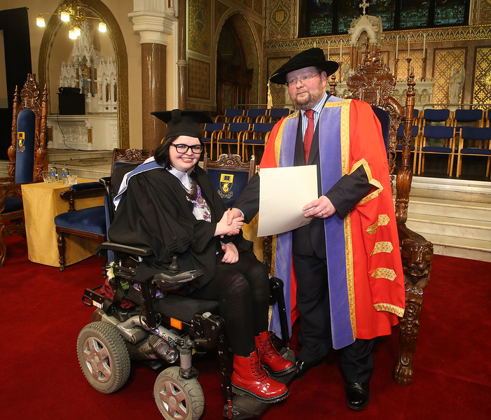 Pictured Lisa Ryan, Wexford who graduated Bachelor in Business, also in photo is Dr. Derek O'Byrne, Registrar of Waterford Institute of Technology (WIT). Picture: Patrick Browne