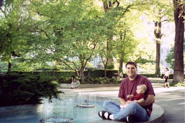 99 Allen w Dad by fountain.JPG