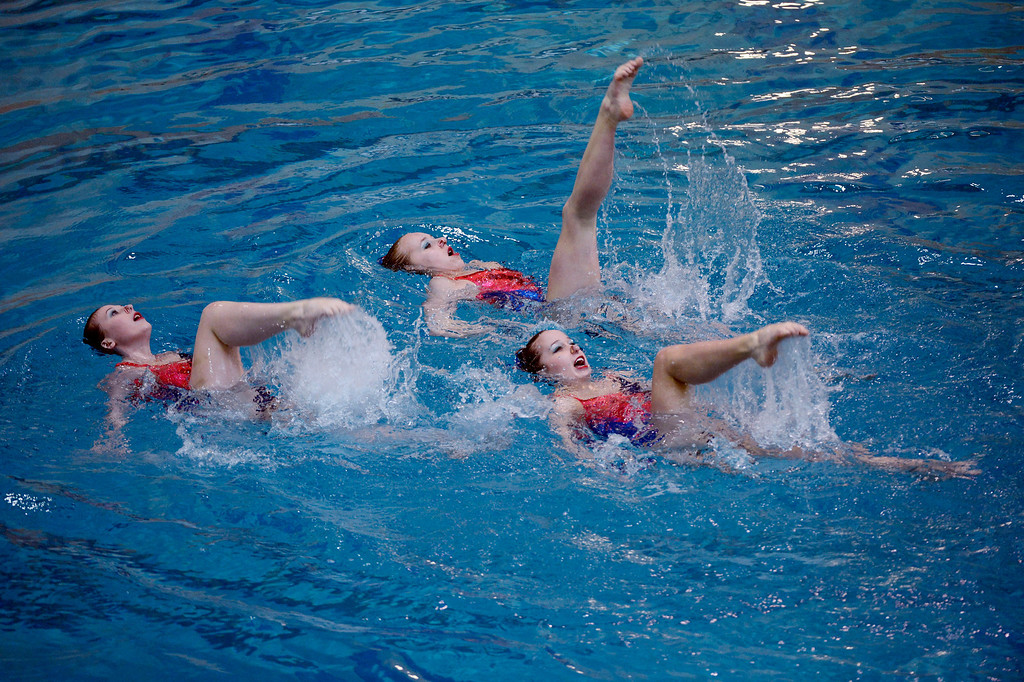. THORNTON, CO. - MARCH 10: Team Cincinnati Synchrogators, Quinn Connor, Rachel Handleton and Jack Justice perform their routine during the trio free at The Rocky Mountain Synchronized Swimming North Zones Championships  March 10, 2013 at Veterans Memorial Aquatic Center. (Photo By John Leyba/The Denver Post)
