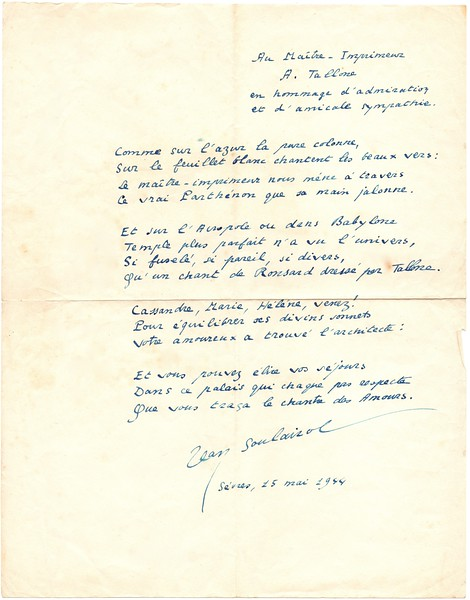 Jean Soulairol to Alberto Tallone
