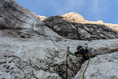 07 18 Rock climbing - Jubilejna smer in Dolgi Hrbet