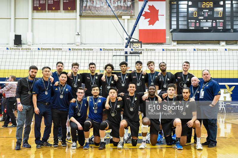 TORONTO, CANADA - Feb 23: during OCAA Men's Volleyball Championship Gold Medal Game between Humber Hawks vs Fanshawe Falcons at Humber Hawks Athletic Center. Photo: Michael Fayehun/F10 Sports Photography