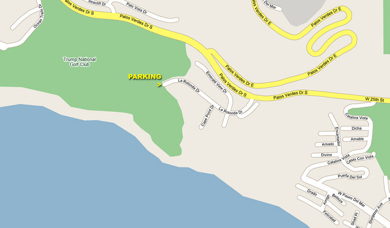 Map of the area. From the PCH take Western Avenue, south, toward ocean (San Pedro) to the 25th Street, take right (Northwest) after while it turns into Palos Verdes Drive South. Turn into La Rotonda Drive. Park on the very end.