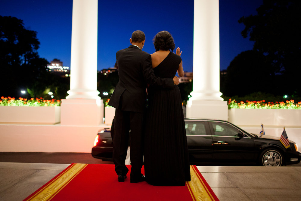 ". June 13, 2012 ""There was still a little light left in the evening sky as the President Barack and First Lady waved goodbye to President Shimon Peres of Israel following a dinner in his honor at the White House.\""  (Official White House Photo by Pete Souza)"