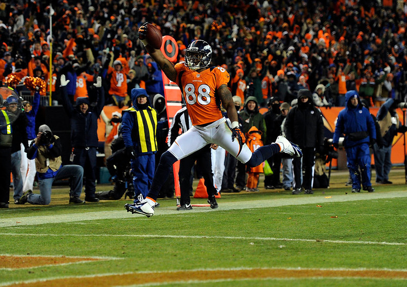. Denver Broncos wide receiver Demaryius Thomas (88) scores a touchdown in the second half.  The Denver Broncos vs Baltimore Ravens AFC Divisional playoff game at Sports Authority Field Saturday January 12, 2013. (Photo by Joe Amon,/The Denver Post)