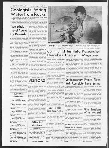 Summer Trojan, Vol. 12, No. 13, August 14, 1962