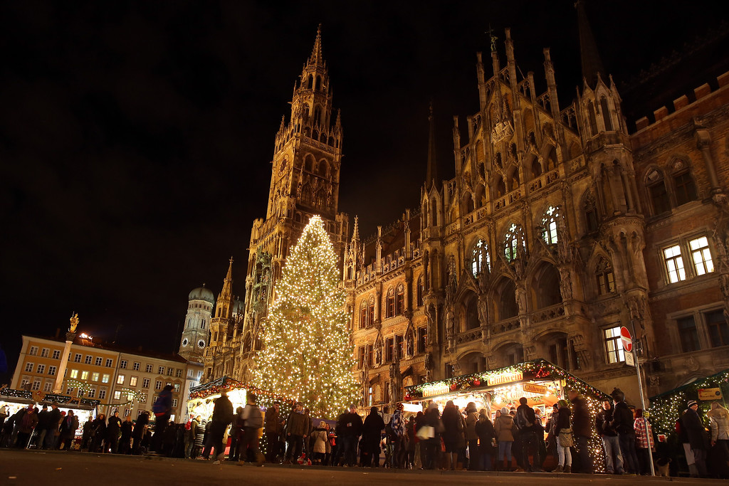 . General view of the annual Christmas market at Marienplatz and the Town Hall on its opening day on November 25, 0213 in Munich, Germany.  (Photo by Alexander Hassenstein/Getty Images)